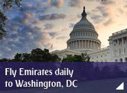 Fly Emirates daily to Washington, DC
