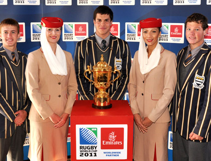 Pupils from Grey College, Bloemfontein, have their photos taken with the Emirates cabin crew and the Webb Ellis Cup
