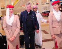 PSG coach Carlo Ancelotti arriving at Terminal 3 for the Dubai Football Challenge 2012