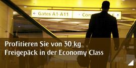 Profitieren Sie von 30 kg Freigepäck in der Economy Class