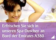 Erfrischen Sie sich in unseren Spa-Duschen an Bord der Emirates A380
