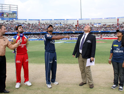 Emirates Facebook winner witnessing the coin toss at a Deccan Chargers home match in Hyderabad