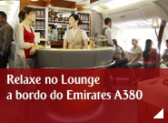 Relaxe no Lounge a bordo do Emirates A380