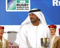 HH Sheikh Ahmed Bin Saeed Al Maktoum, Chairman and Chief Executive of Emirates Airline accompanied by Emirates cabin crew members at the Official Draw of Rugby World Cup Sevens 2009.