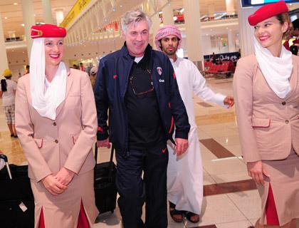 PSG coach Carlo Ancelotti arriving at Terminal 3 for the Dubai Football Challenge 2012