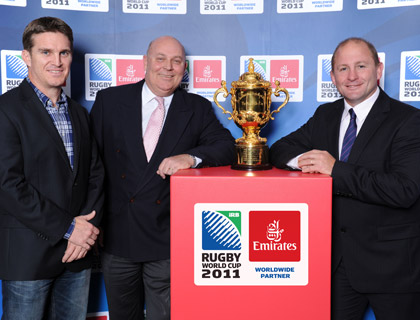 Tim Horan, Barry Brown and Dan Crowley with the Webb Ellis Cup at the Queensland Rugby Club