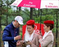 Ross Fisher signing an Emirates A380 aircraft during the Ballantine's Championship pro am