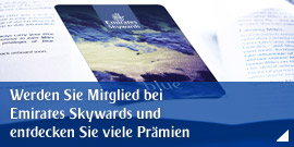 Werden Sie Mitglied bei Emirates Skywards und entdecken Sie viele Prämien