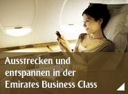 Ausstrecken und entspannen in der Emirates Business Class