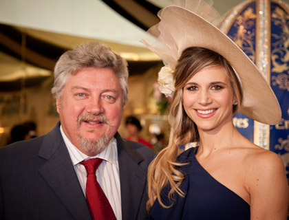 Ian Fairservice, Managing Partner and Group Editor of Motivate Publishing, with Nicoletta Romanoff, the granddaughter of Nicholas Romanov, Prince of Russia and a descendent of Emperor Nicholas I of Russia.