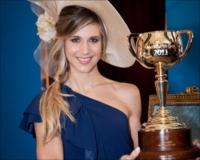 Nicoletta Romanoff with the Emirates Melbourne Cup.