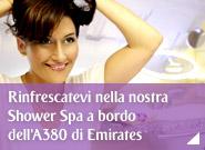 Rinfrescatevi nella nostra Shower Spa a bordo dell'A380 di Emirates