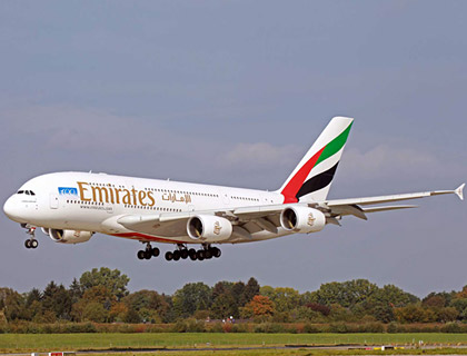 Emirates A380 landing at Hamburg Airport