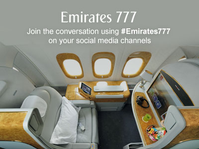 Emirates 777. Join the conversation using #Emirates777 on your social media channels