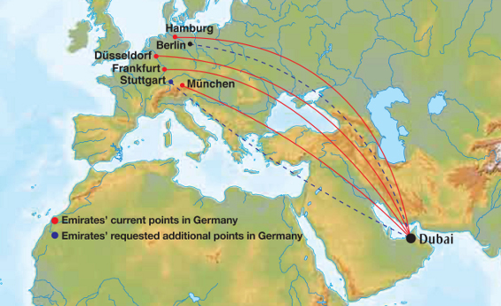 Additional points of call for Emirates in Germany
