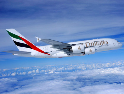 The Emirates A380 aircraft
