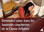 Détendez-vous dans les fauteuils couchettes de la Classe Affaires