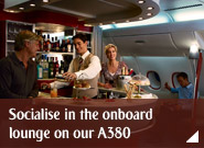 Socialise in the onboard lounge on our A380