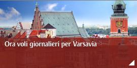 Ora voli giornalieri per Varsavia