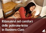 Rilassatevi nel comfort delle poltrone-letto in Business Class