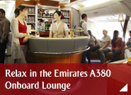 Relax in the Emirates A380 Onboard Lounge