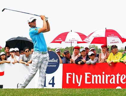 Bernd Wiesberger, winner of the Ballantine's Championship 2012, teeing off at Hole 14