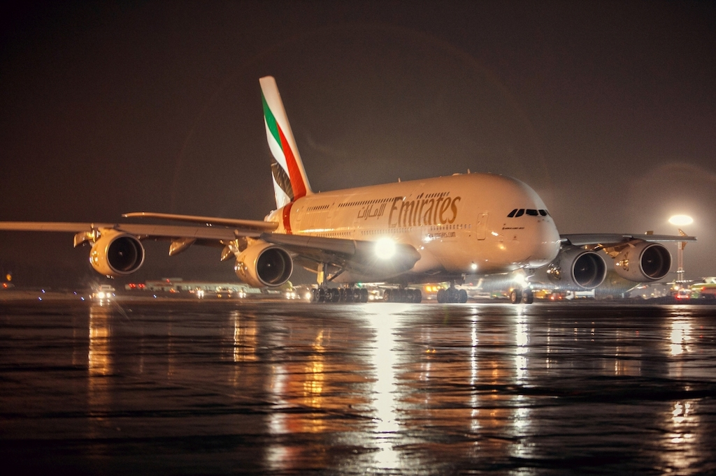 The Emirates A380 pictured at DME Moscow.