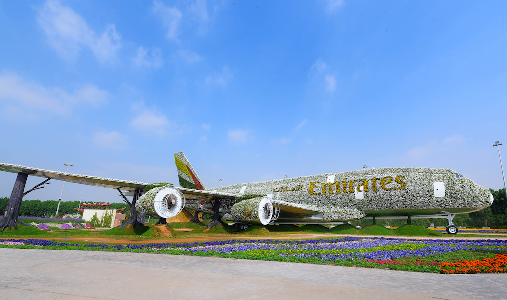 Emirates Airline has teamed up with Dubai Miracle Garden to construct the world's largest floral installation through a life-size version of the Emirates A380, covered in more than 500,000 fresh flowers and living plants.