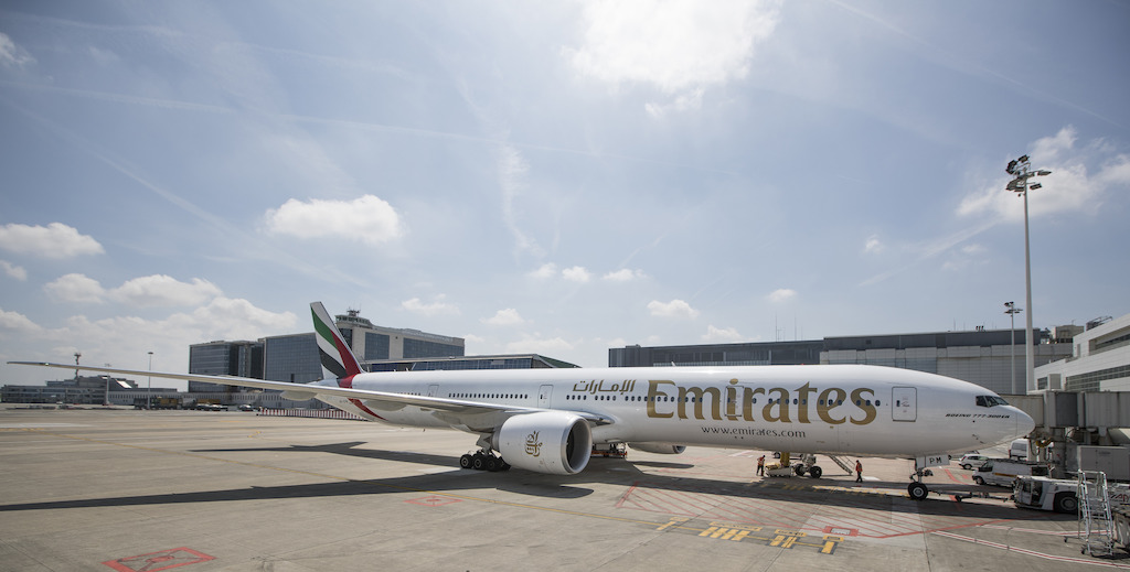 An Emirates B777-300ER aircraft pictured at Brussels Airport