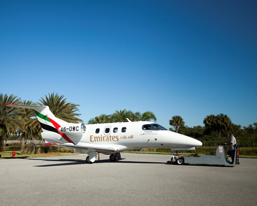 The Emirates Flight Training Academy welcomes its first Embraer Phenom 100EV aircraft