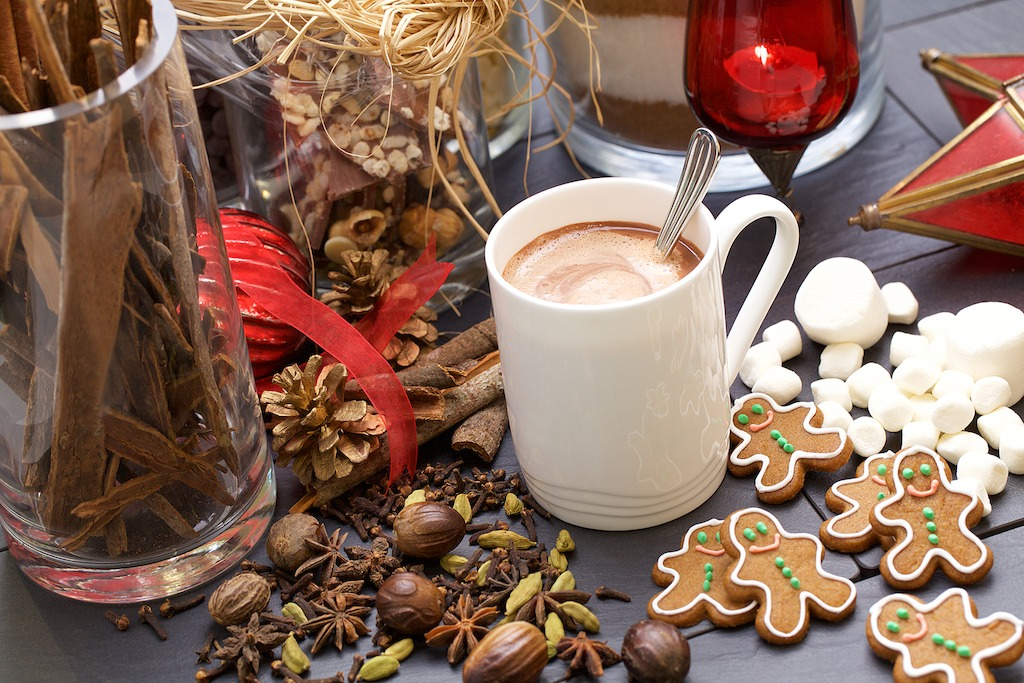 Hot chocolate in First Class made with 100% Valrhona Chocolate and blended to perfection by chocolatier David Franco.