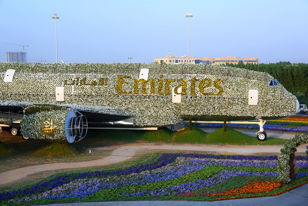 A medley of over 9,000 flowers and plants made up the Emirates iconic logo, and 100,000 blossoms formed the enormous wings, which reach over 80.27 metres wide.