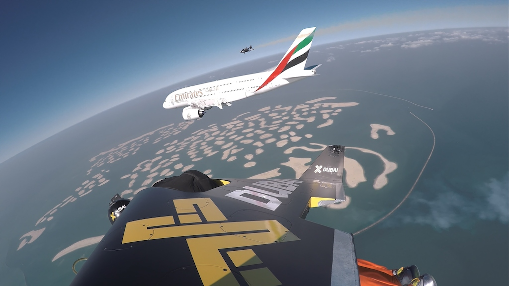 Emirates A380 and Jetman Dubai formation flight. Photos courtesy of XDubai.