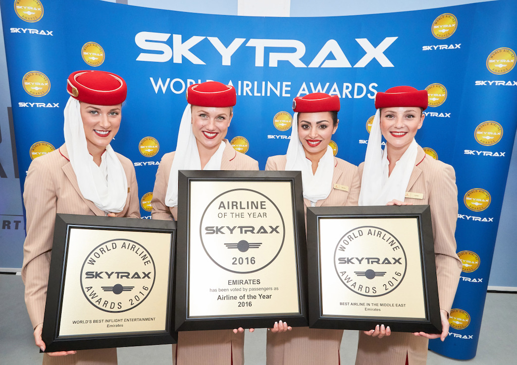 Emirates was today named the World's Best Airline 2016 at the prestigious Skytrax World Airline Awards 2016, in addition to scooping up the awards for World's Best Inflight Entertainment for a record 12th consecutive year, and Best Airline in the Middle East.  Based on the results of the largest airline passenger satisfaction survey in the industry, the World's Best Airline Awards are considered a global benchmark of airline excellence.