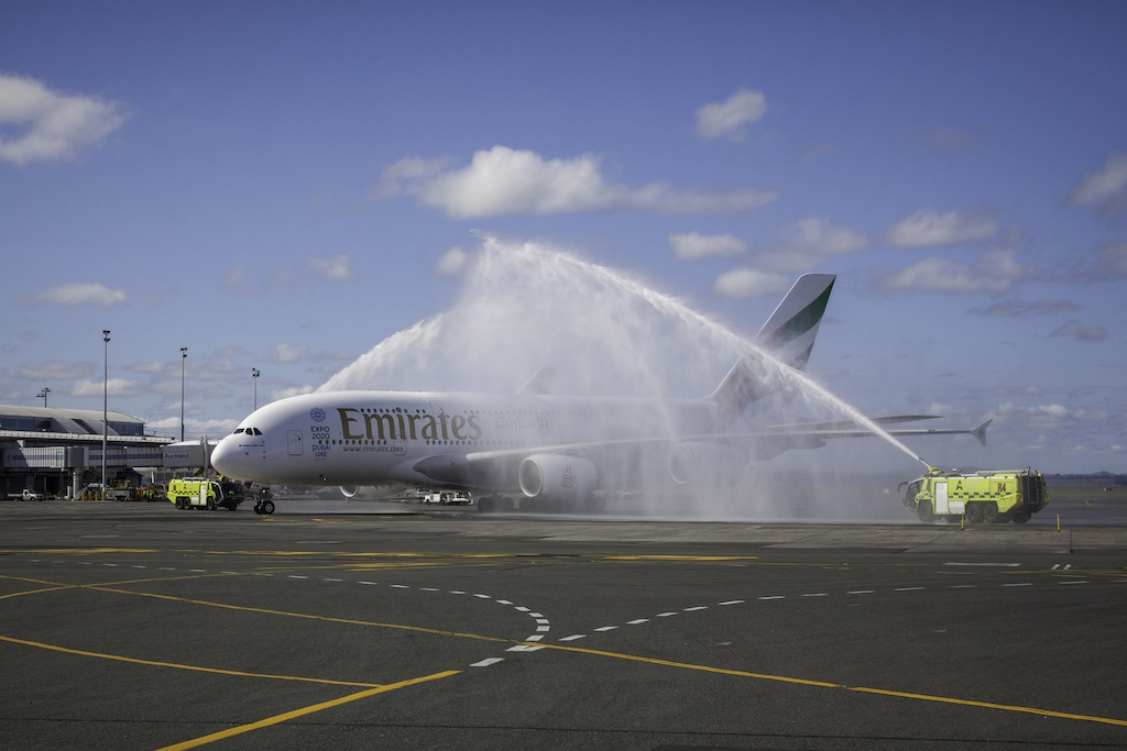 The aircraft was received with a traditional water canon salute after touchdown in Auckland.