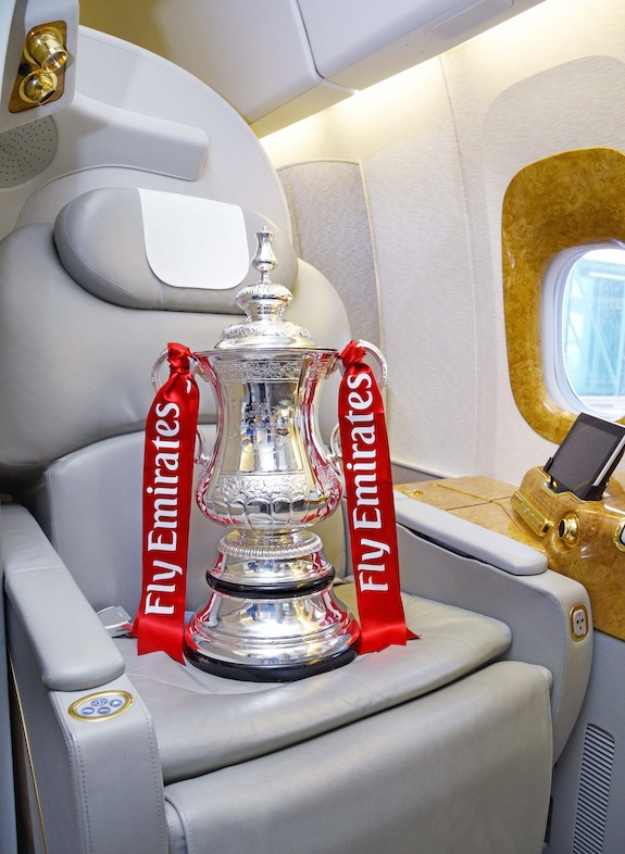 The Emirates FA Cup on board an Emirates Aircraft