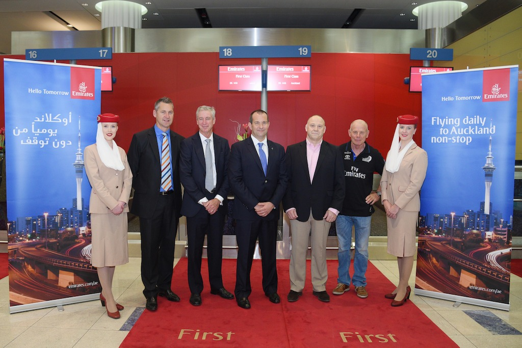 The VIP delegation in Emirates' inaugural direct service between Dubai and Auckland included (from Left to Right):  Dave Battiston, Vice President & Managing Director, Global Business Development, AIMIA Global;  Gary Chapman, President Group Services & dnata, Emirates Group; Jeremy Clarke-Watson, New Zealand Ambassador to the UAE; Andrew Martin, CEO Remote Project Services Group; and Grant Dalton, CEO, Team New Zealand.