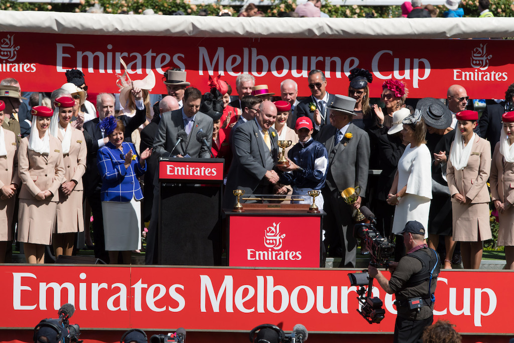 Barry Brown, Emirates' Divisional Vice President for Australasia at the Emirates Melbourne Cup Presentation with winner