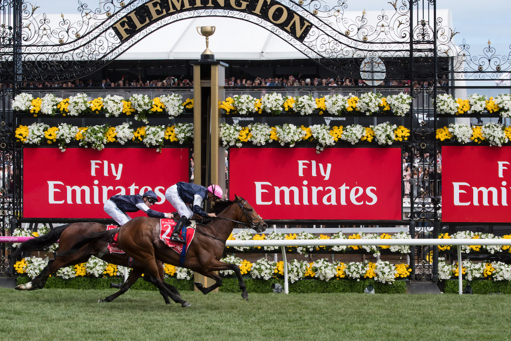 Emirates Melbourne Cup race finish