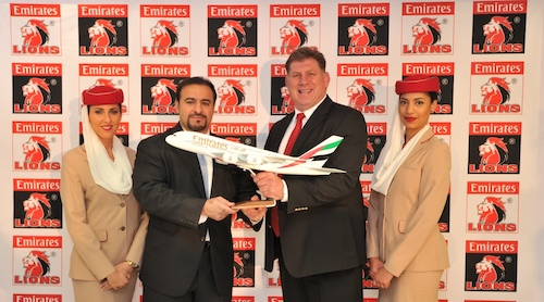 Emirates Senior Vice President Orhan Abbas (left)  presents Golden Lions Rugby Union CEO Rudolf Straeuli (right) with a model of an Emirates A380 aircraft.