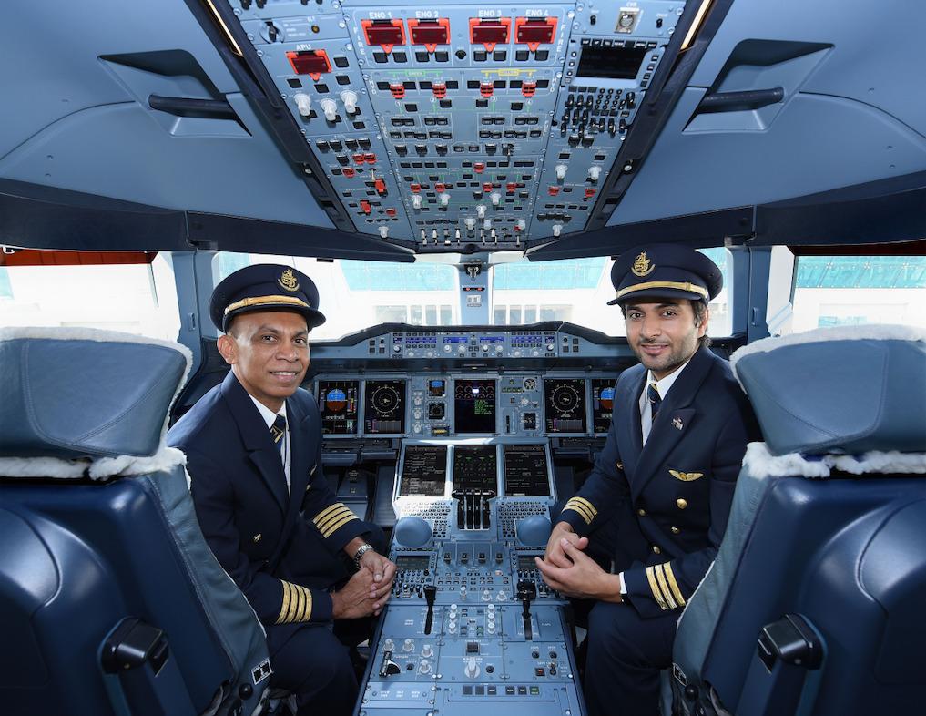 Sri Lankan Captain Udaya Tillekeratne and Emirati First Officer Saeed Almheiri led the Emirates A380 one-off flight to Colombo