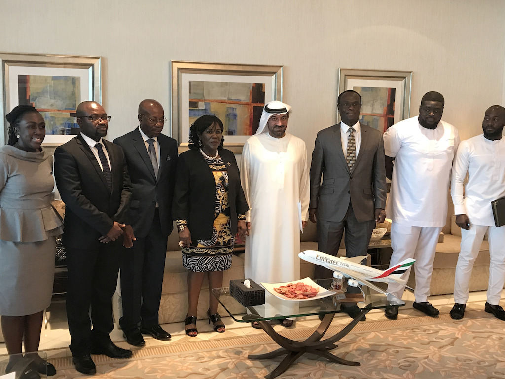 The delegation from left to right Amma Ampong Agyeman-Prempeh, PA to Hon. Minister, Ministry of Aviation; Cephas Adjei-Mensah, Deputy Director FAM, Ministry of Aviation; John Attafuah, MD Ghana Airport Company; Hon. Cecila Dapaah, Minister for Aviation; His Highness Sheikh Ahmed Bin Saeed Al Maktoum, Chairman and Chief Executive, Emirates Airline and Group; Simon Allotey, Director General, GCAA; Peter Derrick Osei-Kwame, co-ordinator of the trip and Eugene Nana yaw Ofori-Atta, co-ordinator of the trip.