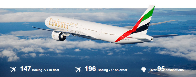 147 Boeing 777 in fleet, 196 Boeing 777 on order, over 95 destinations