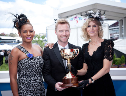 Mel B, Ronan and Yvonne Keating with the Emirates Melbourne Cup.