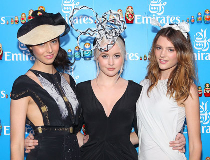 Finalists of Australia's Next Top Model, Simone Holtznagel, Montana Cox and Liz Braithwaite, enjoy Derby Day at Flemington, the first day of the Melbourne Cup Carnival, from the St Petersburg-themed Emirates Marquee.
