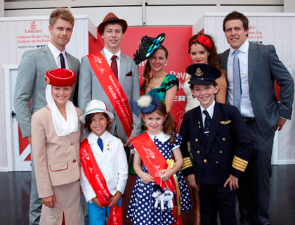 Emirates Stakes Day Fashions on the Field Winners (Junior Boys Zakariya Sivritas; Junior Girls Mia Sango; Senior Boys Fedele D'Amico; Senior Girls Millie Whyatt) with Ambassadors (Harry & Alara) and Home & Away Stars (Luke Mitchell, Rebecca Breeds & Steve Peacocke)