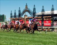 Albert the Fat, under Mark Zahra, wins the Emirates Stakes on the final day of the 2011 Melbourne Cup Carnival.