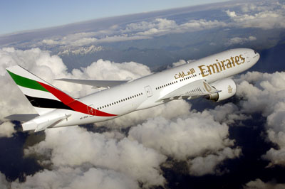An Emirates Boeing 777-200LR that will be used on the Haneda route.