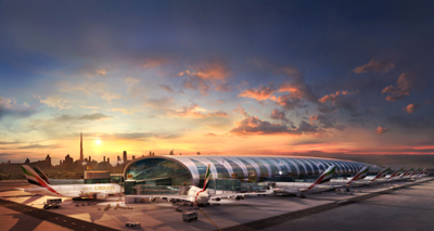 Concourse A, home of the Emirates A380, at sunset with the iconic Dubai skyline in the background