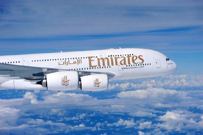 Emirates Airbus A 380 mid-air